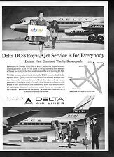 DELTA AIR LINES DC-8 ROYAL JET SERVICE FOR EVERYBODY 1959 THRIFTY SUPER COACH AD