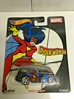 Hot Wheels Pop Culture Marvel Spider Woman Quick D-Livery w/Real Riders NIP