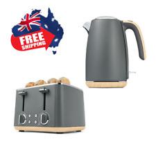 Premium 4 Slice Toaster & Quality Kettle Woodgrain & Grey Electric Luxury 1.7 L