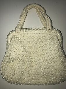 Vintage Cordé Bead Evening Bag Design with White And Clear Beads Beaded Handle