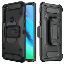For Motorola Moto G Power 2020 - Robust Rugged Holster Clip Case - Black