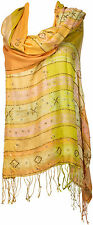 Pashmina Abend Schal 100% Seide silk bestickt scarf stole hand embroidered soie
