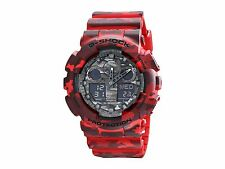 Casio G-Shock GA-100CM-4A Camouflage Series Red Resin Analog Digital Watch