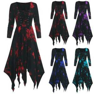 Women Retro Floral Long Sleeve Midi Dress Halloween Cosplay Party Fancy Dress