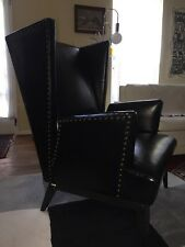 VTG MCM Hollywood Regency Black Wing Back Accent Chair Nail Head
