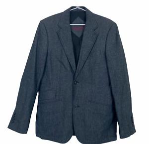 Esprit Mens Black 100% Cotton 2 Button 1 Vent Lined Blazer Jacket Size S