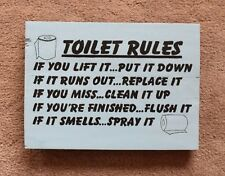 Wall Plaque Sign Reclaimed Pallet Toilet Rules Humour Hand Painted