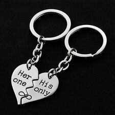 LX_ 1 Pair Heart Shape Metal Keyring Couple Key Chain Valentine's Day Gift _GG