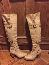 Enzo Angiolini OTK over the knee heel leather boots bone natural color 8.5