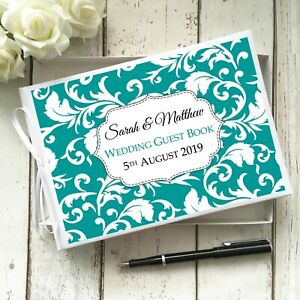 PERSONALISED WEDDING PARTY GUEST BOOK SWIRL VINE FLORAL ~ YOUR CHOICE OF COLOUR