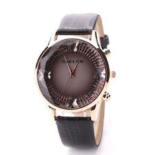 Ladies Fashion Rose Gold Quartz Crystal Design Cut Face Black Band Wrist Watch.