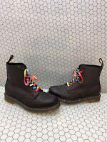 Dr. Martens 1460 PASCAL RAINBOW Black Leather Lace Up Ankle Boots Men's Size 10
