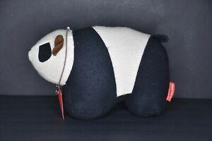 Monica Richards Doorstop Doorbanger Panda Bear Felt and Leather