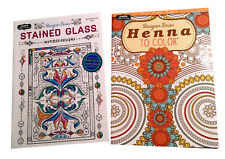 Henna Designs & Stained Glass Adult Coloring Book Designer Series Books Set of 2