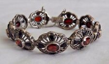 Vintage Sterling Silver Bracelet with Ruby-Red Garnets, Marcasites & Onyx
