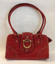 Brick Red Faux Crocodile Purse Satchel Handbag Tote Bag Metal Accents Lined