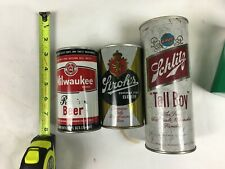 Vintage beer cans, pull tabs, empty, antiques, Milwaukee, Stroh's, Schlitz