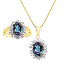 Princess Diana Inspired Halo Diamond & Simulated Alexandrite Matching Pendant N