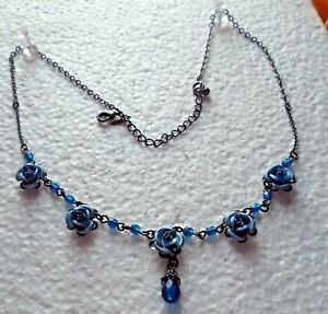 Vintage AVON NR. Blue Rose's with Blue Beads Chain Necklaces .