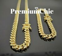 COMBO SET Mens Miami Cuban Link Bracelet & Necklace Gold Plated Stainless Steel