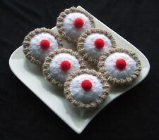 6 Hand Knitted Bakewell Tarts - Toy Food