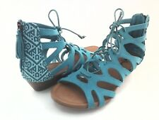 Minnetonka Merida II Lace up Gladiator Wedge Sandals Turquoise US 9 EU 40 UK 7.5