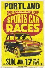 1960's Austin Mini Cooper Portland Oregon Vintage Race Poster 11 x 17