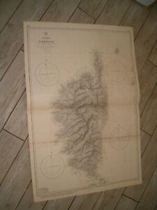 Vintage Admiralty Chart 1131 ISLAND OF CORSICA 1874 edn