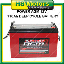 POWER AGM 12v 110 Ah Amp Hour Deep Cycle Battery VRLA Sealed Camper Caravan 4WD