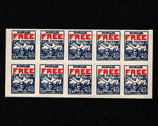 Opc 1942 Postage Free for Victory Us Armed Forces Patriotic Block of 10 Mnh