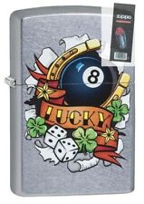 Zippo 29604 Luck Tattoo Street Chrome Finish Full Size Lighter + FLINT PACK