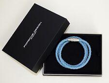 Porsche Design Bracelet Grooves Stainless Steel Cow Leather Blue 21 5 Cm