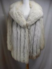 Real Fox Fur Coat Blue Silver L 12 Lined Pockets Fluffy Excellent Snow Bunny