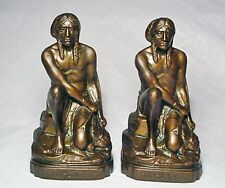 The Hunter/Rare Indian Antique Gray Metal Bookends cast in 1934/Nice Condition!