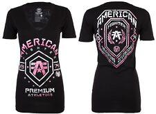 Американский истребитель женская футболка Арканзас спортивный черный ярко-розовый байкер $40
