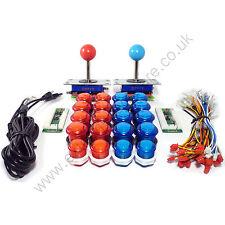 2 Player Arcade Kit De Control - 2 bola superior Joysticks, 20 Led botones iluminados