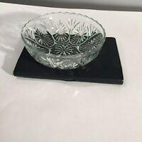 "Vintage Clear Pressed Glass Starburst Pattern 8"" Scalloped Edge Serving Bowl"