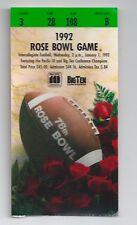 1992 Washington vs Michigan Rose Bowl football ticket stub National Champions