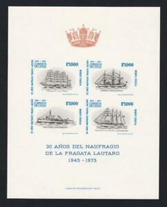 Chile 1975 sc#472a Shipwrecks of Lautaro 30th Anniversary, MNH imperf pane of 4