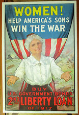 WW 1 POSTER WOMEN HELP AMERICA'S SONS WIN THE WAR Bond Drive by Porteous 1917