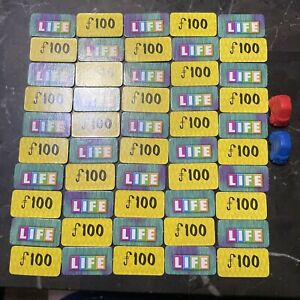 Game Parts Pieces Game of Life Disney Monsters Inc MB 50 Tiles 2 Cars Red Blue