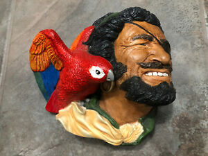 Chalkware Bust Face Figurine Sculpture Buccaneer Pirate With Parrot!