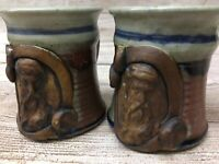 Vintage Happy Valley Pottery PAIR Thumbprint Coffee Mugs Bearded Man Chappelle