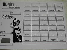RUGBY LEAGUE SCRATCH CARDS (B&W) - 40 SPACES PACK OF 5 EASY WAY TO RAISE £100