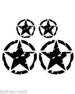 Distressed Invasion Military Vinyl Decals Jeep Wrangler -Set of 4 - Select Color