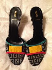 Authentic FENDI monogram slides mules sandals Black Yellow Red Blue 38.5 8.5