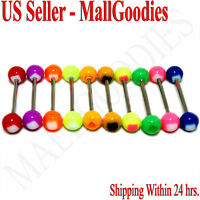 "W012 Acrylic Tongue Rings Barbells Bar 14G Square Shape 5/8"" 16mm LOT of 10"