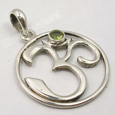 925 Sterling Silver Collectible PERIDOT Cut Gemstone OHM OM Pendant 1.3 Inch