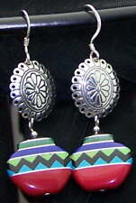 Inlaid Basket Earrings Estate Sterling Silver Signed