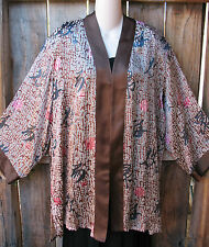 "SALE! ART TO WEAR SILK KIMONO JACKET IN BROWNS BY A TOUCH OF CLASS,46""B,SZ LARGE"